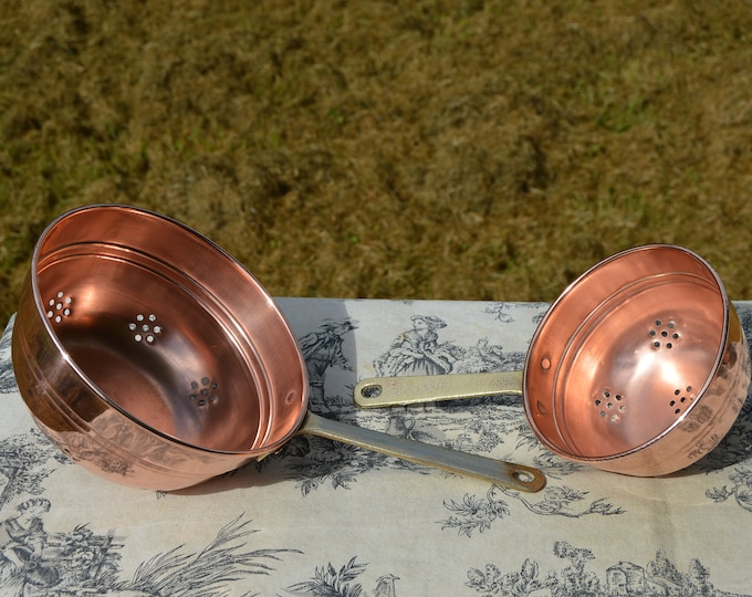Two Vintage French Copper Sieves Copper Pan Fruit Colanders Jam Strainers Brass Handles Rich Patina French Vintage Normandy Kitchen Quality