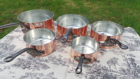 Copper Pans New Tin Five Vintage French 2.1mm Copper Cast Iron Handles 6.25Kilo 13lbs 12.4ozs Normandy Kitchen Quality Copper