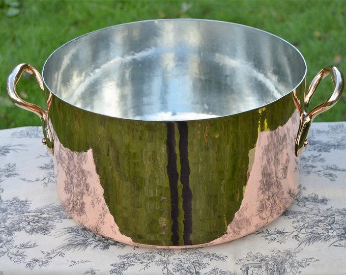 French Antique 1.5mm Copper 34cm Rondeau Pot Marmite Ragout Faitout BIG Pan New Tin Castelated Joints Copper Quality Pot