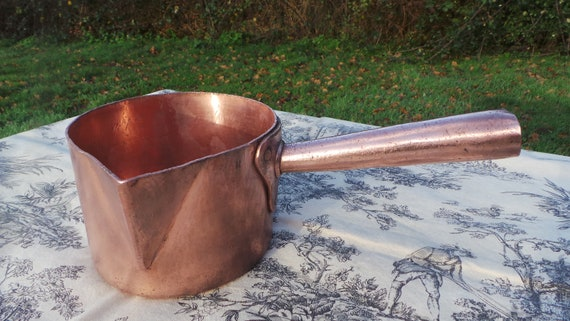 E Dehillerin of Paris Copper Sugar Pan 1.8mm Antique Hammered French Copper Pot Refurbished All Copper Handle Body Rivets Classic Patisserie