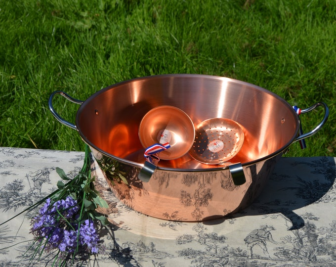 New NKC 38 cm Copper Jam Pan from Normandy Kitchen Plus Copper Skimmer and Ladle Jam Jelly Pan 38cm 15 Inch Rolled Top Stainless Handles