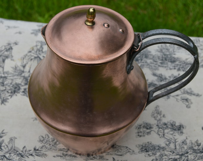 Antique French Copper Jug Large Copper Pitcher Solid Copper Handle Hand Hammered Mid Century Artisan Made Water Tight Lined Interior