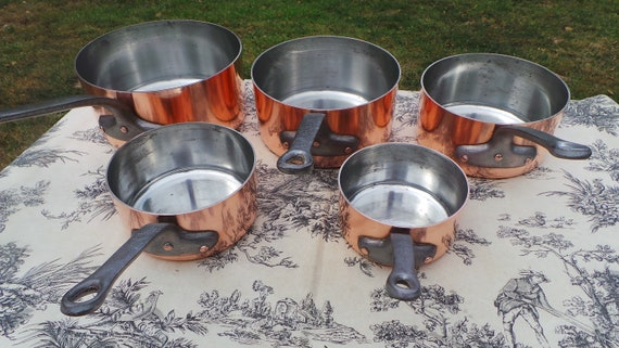 Copper Pans Made in France Set Five Vintage French 1.8-1.9mm Copper Graduated Pans Bronze Handles Refurbished Tin Perfect Balance Villedieu