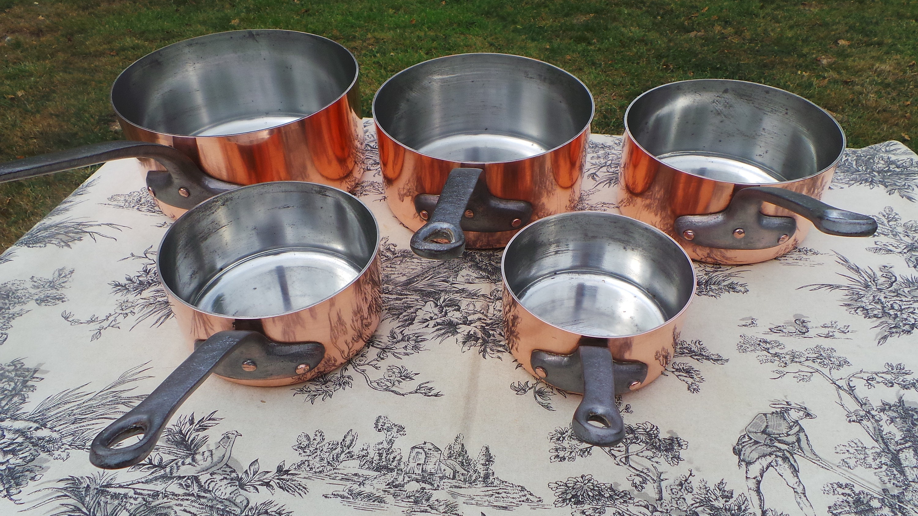 Copper Pans Made In France Set Five Vintage French 1 8 1