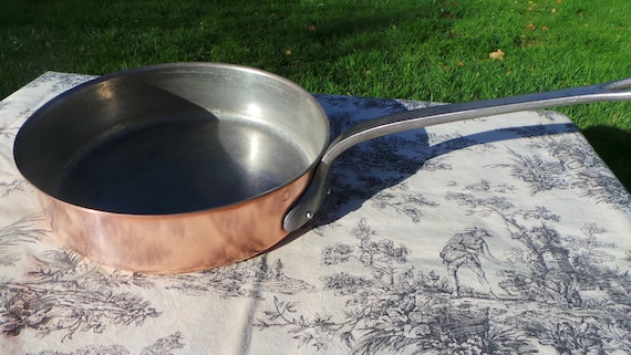 Big French Copper Saute Pan 28cm Fabrication Francaise Copper Pan Good Seasoned Tin Professional Saute Pan Cast Iron Handle French Copper