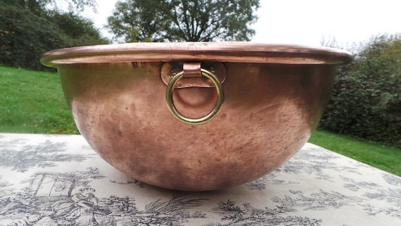 """Copper Bowl  40.5cm 16"""" Massive Antique French Copper Full Round Mixing Bowl Hand Made Copper Ring Handle Cast Iron Ring Good Condition"""