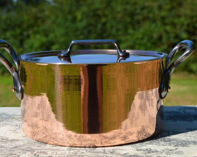 """Vintage Copper Casserole Faitout Round Pot French Copper pot with Lid 2.3mm New Hand Wiped Artisan Tin Good Size 20cm 8"""" Vintage Dutch Oven"""