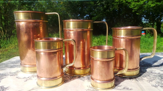 Copper Pitchers Vintage French Copper Set Five Graduated Copper Mugs Cups Tankards Copper Handles Good Decorative Set Refurbished Polished