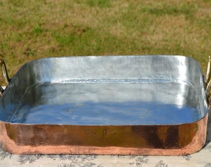 Dehillerin Copper Roasting Pan 2.5-3mm New Atelier Du Cuivre Tin Lining Hotel Quality Cast Bronze Handles Early Manufacture