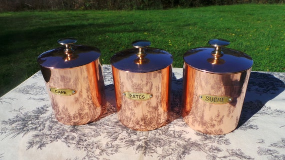 Three Vintage Copper Canister Containers Havard of Villedieu Good Lids Clean Interiors Cafe Sucre Pate Fully Marked Excellent Condition