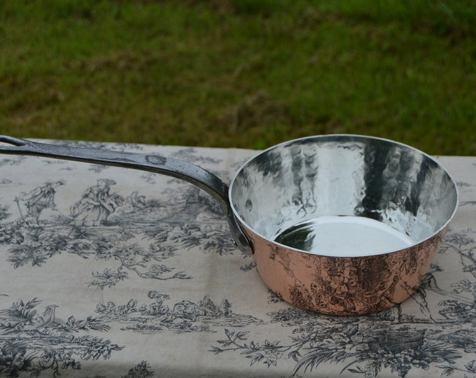 """Vintage French Copper 2.2mm Sauteuse Evasee Pan Windsor New Atelier du Cuivre Tin Lined Professional Windsor 8"""" 20cm Fabrication Francaise"""