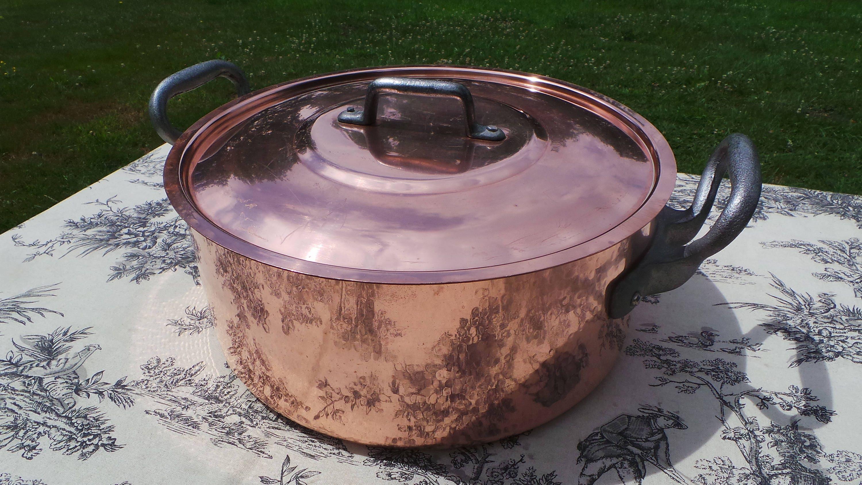 3mm Massive Copper Pan Flat Bottom Vintage Faitout Marmite
