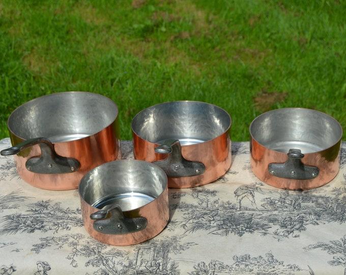 Vintage Copper Pans 4 1.8-1.9mm French Copper Set Four Graduated French Vintage Hammered Tin Lined Lined Set 14cm - 20 cm Minor Darkening