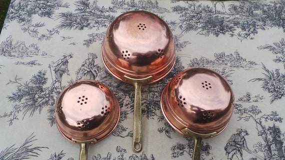 Three Copper Sieves Colanders, Passoires Tamis Strainers French Vintage Copper with Cast Brass Handles Set of Three 12cm 14cm and 16cm