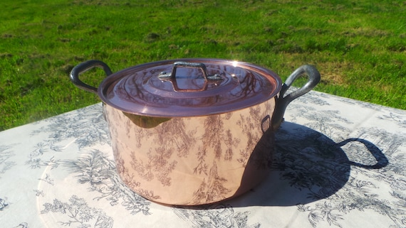Tupperware Copper Casserole Faitout Oval Pot French Copper Casserole Lid 1.7mm 20cm 8 Inch Good Condition Vintage Copper Pan Great Tin