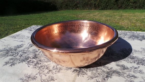 Copper Bowl Vintage French Copper Full Round Mixing Bowl Flat Base Dented Small Whisking Bowl Iron Ring Edge Quality 20cm 8in Modern Era