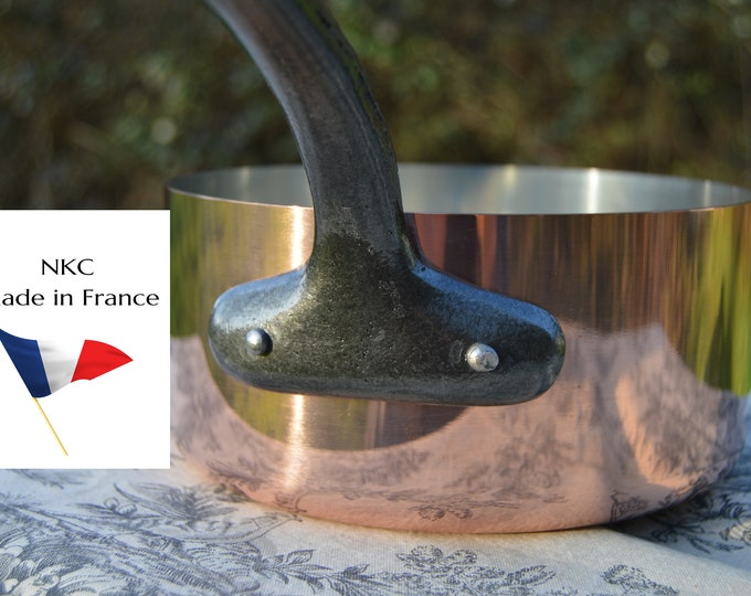 New 18cm NKC Copper Pan Tin Lined 1.6mm Professional Normandy Kitchen Copper Pot Iron Handle Steel Rivets Made in France 18cm 7 inch Pan