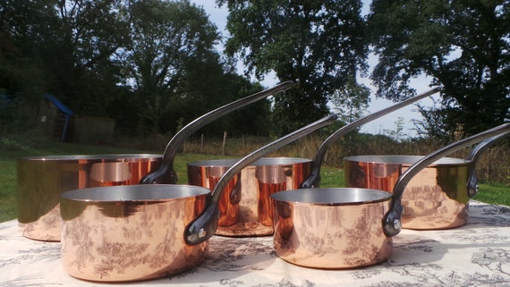 Copper Clad Pans Pans Five Vintage Aluminium Lined Exceptional French 1.5-1.8mm Copper Pans 4.5 Kilos 9lbs 14ozs Aluminum Linings