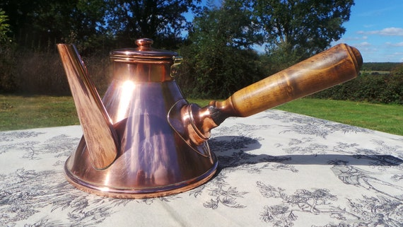 Guarantee Villedieu French Vintage Copper Chocolate Pot with Oak Handle and Solid Copper Fittings Tin Lined Well Used Small Dents