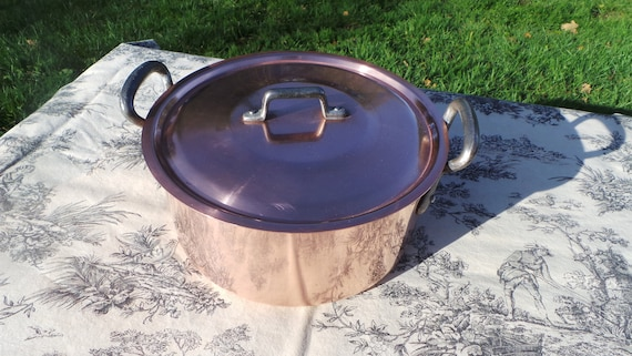 Copper Pan Fabrication Francaise Made in France 24cm Round Marmite Faitout Casserole Cocotte a Poulet Ronde Large Dutch Oven
