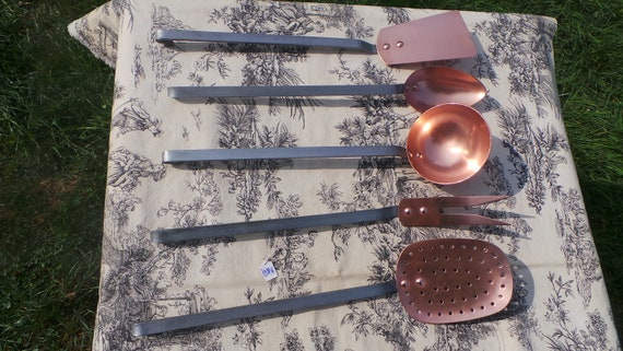 Utensils Quality Vintage French Copper Wrought Iron Set of Utensils Kitchen Five Magnificent Set Cooking Copper Rivets