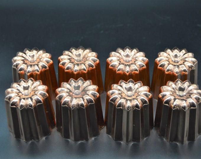 """8 Eight Copper Caneles Large NKC 5.5 cm 2 1/8"""" Canelés Made in France Bordeaux Bordelais Cake Mold Normandy Kitchen Copper Canelles Canneles"""