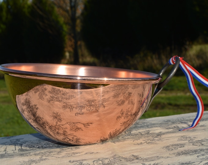 """New NKC Copper Mixing Bowl Cul de Poule Normandy Kitchen Copper Bol 20cm 8"""" New Traditionally Made Copper 20cm 1.2mm Fixed Iron Ring Handle"""