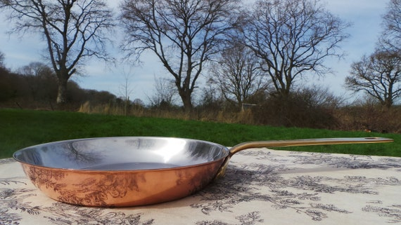 French Faymont 1.7mm Steel Lined Copper Skillet Frying Pan Bronze Handle Stainless Steel Interior Made in France 20 cm 8 inch