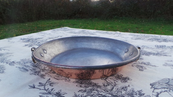 "Copper Pan French Copper Au Gratin Pan Vintage Copper Dish Round 21cm 8 1/4"" Copper Pan Roasting Pan Two Rings Tin Lined Au Gratin Pan"