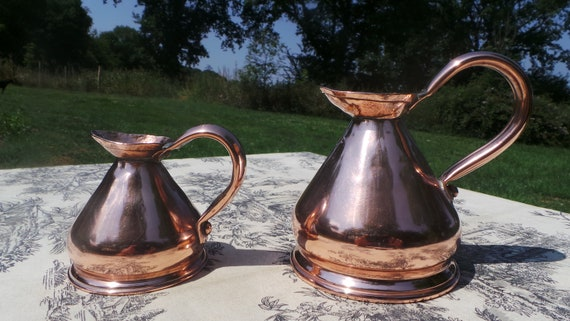 Pair Antique Copper Pub Measures Victorian Gill and Half Pint Fully Assayed and Marked VR Super Little Haystacks Pair Copper Jugs Pitchers