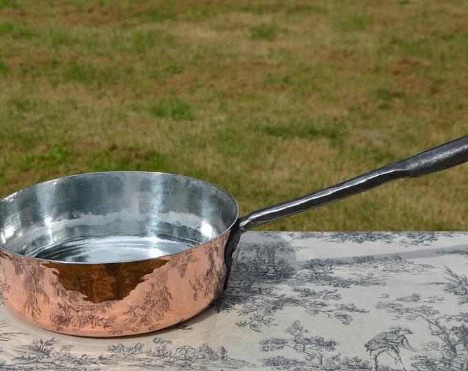 """Antique Copper Saute Pan Solid French Antique Copper Pan 28cm 11"""" Iron Handle 1.9mm Copper New Atelier du Cuivre Tn Lining"""