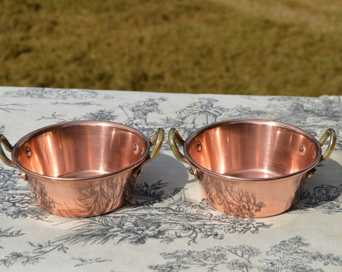 Small Pair Vintage Jam Pans Little Jam Servers Marmalade Containers French Copper Small Copper Pot Made in Villedieu Bronze Handle