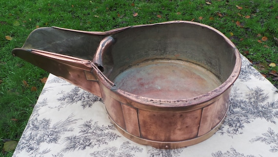 Antique French Copper Bucket Wine Cellar Articles De Cave France Massive Copper Tub Duval Freres Brass Banding Museum Piece Missing Handle
