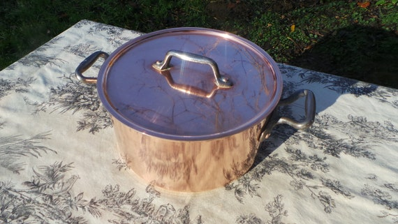 "Faitout Round Pot French Copper Casserole with Lid 1.6mm New Hand Wiped Tin Good Size 20cm 8"" Super Condition Special Vintage Dutch Oven"