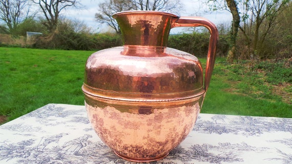Villedieu Canne A Lait Vintage French Big Copper Milk Jug Copper Pitcher Solid Copper Hand Made Dented Normandie Canne a Lait
