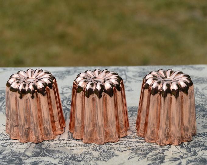 """3 Three Copper Caneles Medium NKC 4.5 cm 1 3/4"""" Canelé Made in Bordeaux France Bordelais Cake Mould Normandy Kitchen Copper Canelle Canneles"""