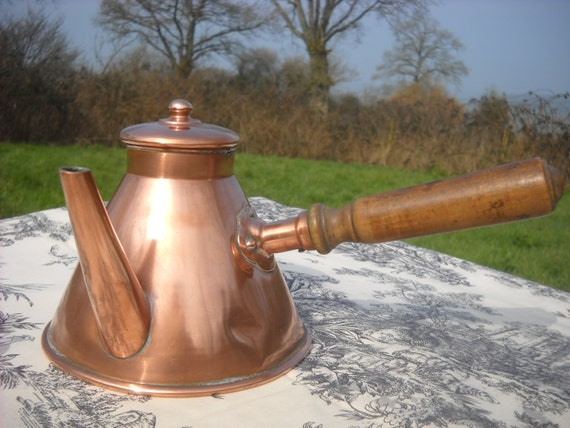 French Vintage Copper Chocolate Pot with Oak Handle and Solid Copper Fittings Tin Lined Well Used Small Dents