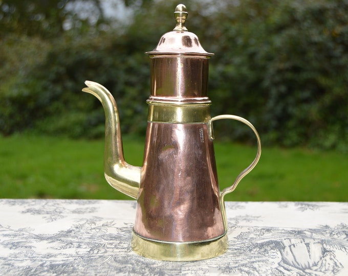 H Pommier Bruxelles Belgian Vintage Copper Tea Cafetiere Pot Oil Pourer Solid Copper and Brass Fittings Tin Lined Well Used Dents Seen Life