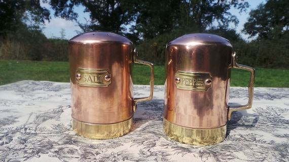 Copper Salt and Pepper Condiments Containers Vintage English Copper Brass Tin Lined Canisters Stoppers Good Interiors Marked Salt and Pepper