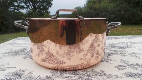 """Copper Pan 2mm Made in France Villedieu 26cm 10.25"""" Round Marmite Faitout Casserole Cocotte a Poulet Ronde 3.2 k 7lb 1oz Large Dutch Oven"""