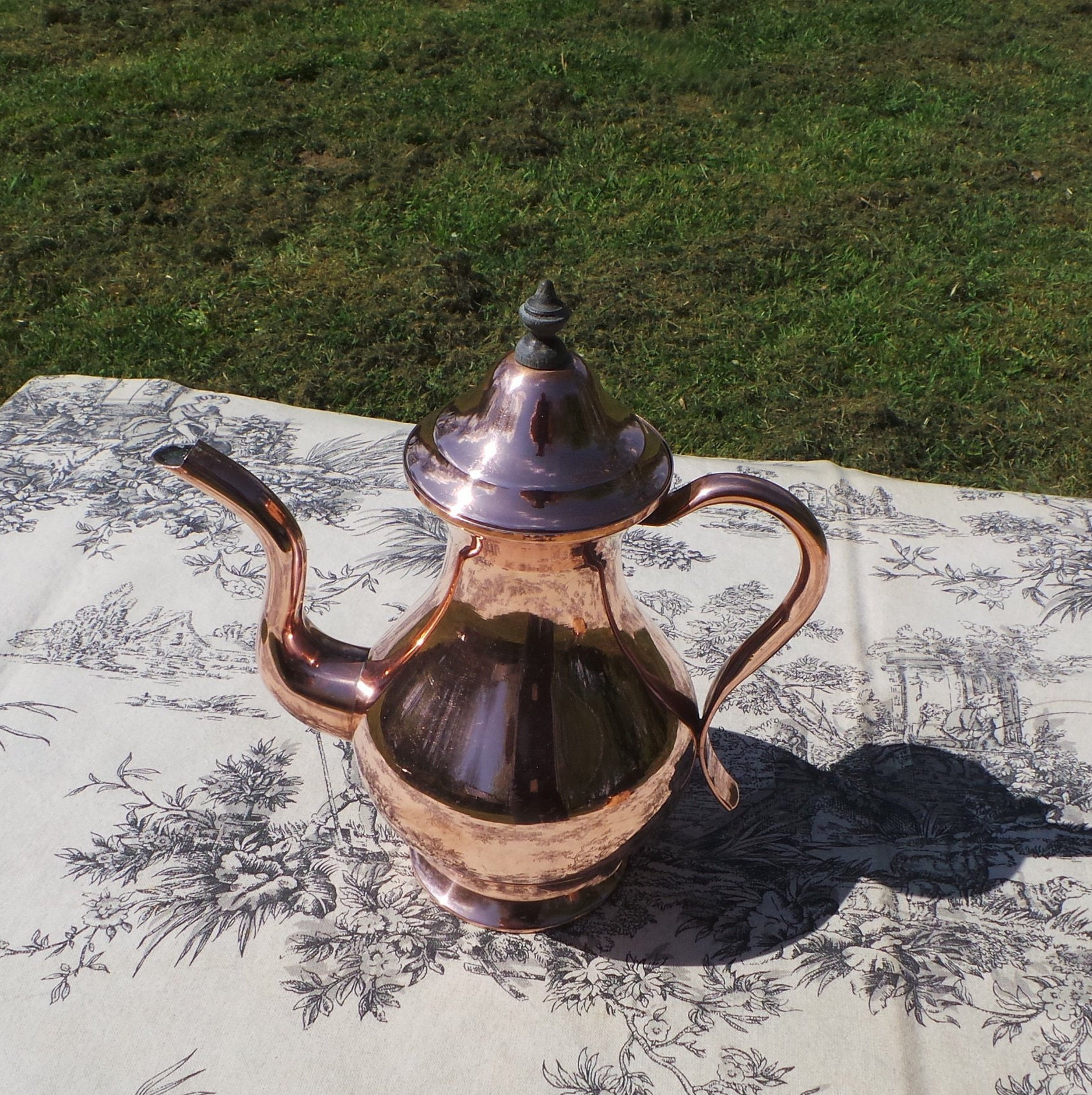 French Antique Copper Normandy Coffee Pot With Copper Handle And Wooden Finial Fittings Normandy