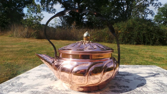 Copper Kettle French Made Paris Bouloire Vintage Copper Wrought Iron Mounts Copper Rivets Tinned Interior Fully Water Tight Hammered