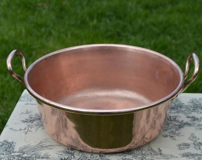 Vintage Copper Jam Pan Midi Sized French Copper Pot Copper 33cm French Jam Confiture Jelly Pan Cast Bronze Handles Useful Size Dents Marks