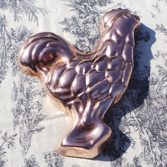 Blancmange Jello Chicken Mousse Mold Mould French Vintage Copper Made in France Unsigned Cockerel Food Mould Tin Lined Normandy Kitchen Pan
