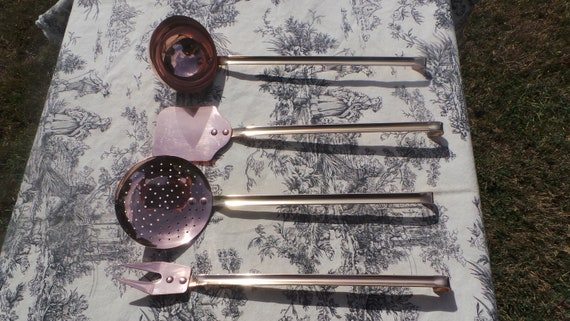 Kitchen Utensils Quality Vintage French Copper Hand Made Finished Good Set of Four Copper Kitchen Utensils Magnificent Set Bronze Handles