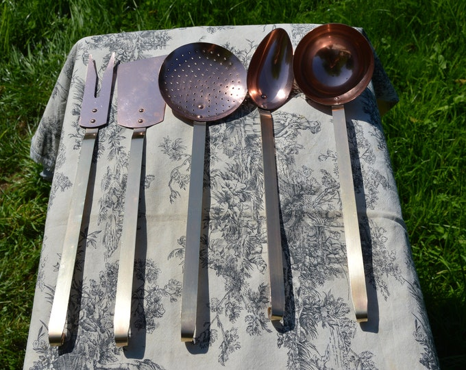 Kitchen Utensils Quality Vintage French Copper and Brass Hand Made Good Set of Five Copper Kitchen Utensils Magnificent Set
