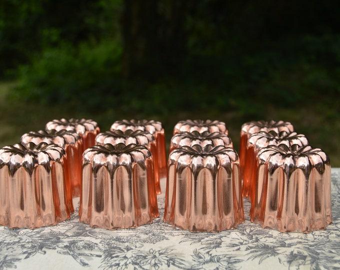 """12 Twelve Copper Caneles Large NKC 5.5 cm 2 1/8"""" Canelés Made in France Bordeaux Bordelais Cake Molds Normandy Kitchen Copper Canneles Mould"""