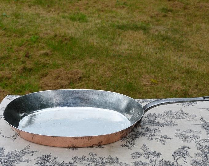 New Tin Dehillerin Copper Pot 2.5-2.9mm Antique Hammered French Pan New Villedieu Tin Saucepan New Iron Handle Tin Lined Sauteuse Evasée