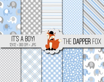 Baby Boy Blue and Grey Digital Paper Pack - INSTANT DOWNLOAD - 12x12 - elephants, spots, stripes, gingham
