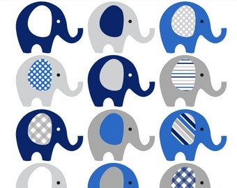 Navy Blue and Grey Elephant Clip Art - INSTANT DOWNLOAD - boy baby shower clipart elephants